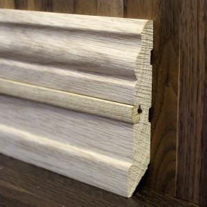 Фигурный массивный плинтус со вставкой дуб 105×20мм