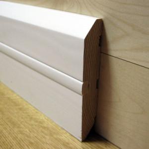 Плинтус прямой белый со вставкой 100×18мм